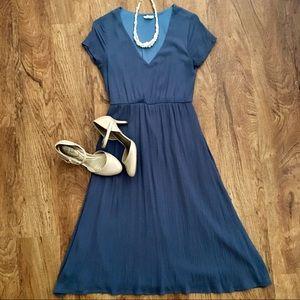 Piper & Scoot Blue Derby Dress Midi